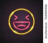 emoji neon light glowing... | Shutterstock .eps vector #763404406