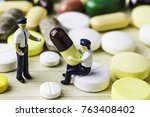 medicine pills or capsules on... | Shutterstock . vector #763408402