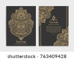 golden vintage greeting card on ... | Shutterstock .eps vector #763409428