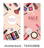cosmetics sale banners and ads... | Shutterstock .eps vector #763410808