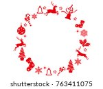 an abstract christmas wreath... | Shutterstock .eps vector #763411075