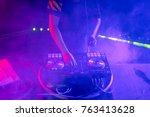 dj playing music on light... | Shutterstock . vector #763413628