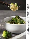 delicious oriental food... | Shutterstock . vector #763413862