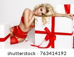 stunning blonde female model in ... | Shutterstock . vector #763414192