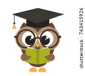 cute brown owl with book... | Shutterstock . vector #763415926