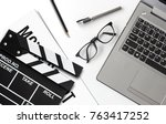 film director's desk. top view... | Shutterstock . vector #763417252
