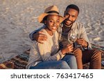 smiling young african couple...   Shutterstock . vector #763417465