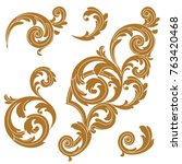 baroque vector set of vintage... | Shutterstock .eps vector #763420468