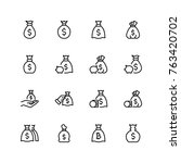money bag icon set. collection...