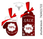 new year's price tag. christmas ... | Shutterstock .eps vector #763421722