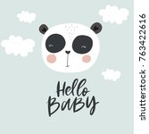 Stock vector vector cards for baby shower with cute panda hello baby 763422616