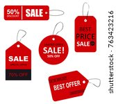 set of sale tags with text.... | Shutterstock . vector #763423216
