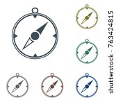 compass icon isolated. vector... | Shutterstock .eps vector #763424815