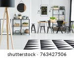 black and white carpet in front ... | Shutterstock . vector #763427506