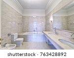 the interior of bathroom. | Shutterstock . vector #763428892