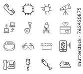 thin line icon set   phone ... | Shutterstock .eps vector #763430875