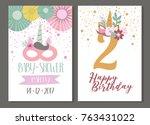 unicorn party invitation | Shutterstock .eps vector #763431022