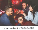 happy friends drinking and... | Shutterstock . vector #763434202