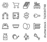 thin line icon set   atom  cart ... | Shutterstock .eps vector #763434748