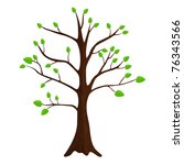 tree with green leafage. vector. | Shutterstock .eps vector #76343566