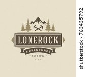 camping logo emblem vector... | Shutterstock .eps vector #763435792
