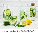 infused detox water with... | Shutterstock . vector #763438066