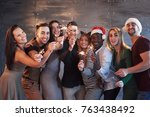 party with friends. group of... | Shutterstock . vector #763438492