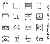 thin line icon set   arch... | Shutterstock .eps vector #763438642