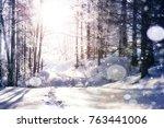 mysterious winter landscape... | Shutterstock . vector #763441006