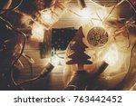 christmas concept. retro lights ... | Shutterstock . vector #763442452