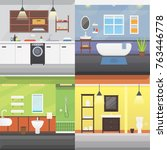set bathroom interior or... | Shutterstock .eps vector #763446778
