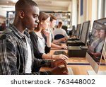 group of students using... | Shutterstock . vector #763448002