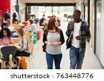 communal area of busy college... | Shutterstock . vector #763448776