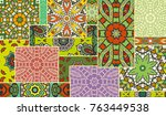 vector patchwork quilt pattern. ... | Shutterstock .eps vector #763449538
