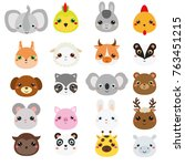 cute animals faces. big set of... | Shutterstock .eps vector #763451215