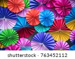 colorful paper fan fold on the...   Shutterstock . vector #763452112