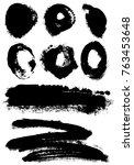 different grunge elements   Shutterstock .eps vector #763453648