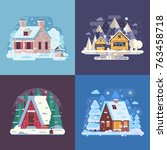 snowy landscapes and banners... | Shutterstock .eps vector #763458718