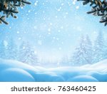 christmas winter background... | Shutterstock . vector #763460425