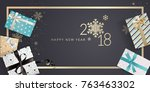 new year greeting card.... | Shutterstock .eps vector #763463302