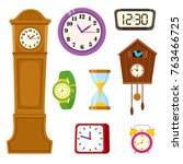 set of clocks and watches  ... | Shutterstock .eps vector #763466725