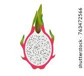 isolated half of dragon fruit ... | Shutterstock .eps vector #763472566