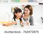 happy mother and child in... | Shutterstock . vector #763472875