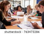 group of college students... | Shutterstock . vector #763473286