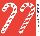 christmas candy cane line and... | Shutterstock .eps vector #763474282
