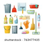 set of cleaning supplies tools... | Shutterstock .eps vector #763477435