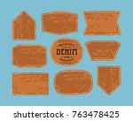 set of leather patch for denim... | Shutterstock .eps vector #763478425