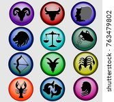 zodiac icons zodiac signs | Shutterstock .eps vector #763479802