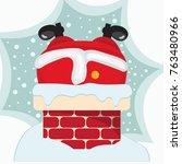 cartoon santa claus stuck... | Shutterstock .eps vector #763480966