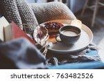 cozy winter weekend at home.... | Shutterstock . vector #763482526